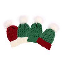 0-3 T chapeau de bébé Bonnet de Noël Bonnet de Noël avec balle Pom Towdler Kid Hiver Headwear Headwear Garçon Garçon Capuchon Candy Couleur