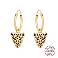 Hoop Huggie 925 Orecchini in argento sterling sterling Punk Style Animal Leopard Dangle Per Donne Girls Party Belle Gioielli Pendientes W41