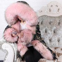 abrigo de manga larga abrigo suelto mapache cuello de piel naturales de las mujeres MAOMAOKONG larga parka 201023