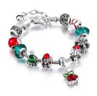 سوار عيد الميلاد سانتا بيل سحر سوار اليدويه صنع المجوهرات الخضراء شجرة عيد الميلاد فضية اللون سبائك كريستال الخرزة سوار