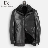 DK Progrote Новый 2020 Зимний Реальные овчины Пальто Мужчины Теплая Повседневная Черная Кожа Натуральная Одежда Натуральный Мех Войти