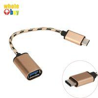 USB 2.0 Dişi Adaptör OTG Kablo Kordon Tip C OTG Kablo Adaptör toptan için 300pcs / lot Yüksek Kalite Örgülü C Tipi USB 3.1 Erkek