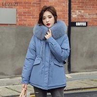 LUZUZI Winter 2020 New Short Women's Jacket Korean Fashion Parka Women Fur Collar Hooded Thick Warm Women's Winter Jacket Coat