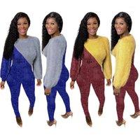 RSTYLISH 2 Stück Outfits Frauen Lose Langarm Rundhals Hals Patchwork Top Pants Anzug 2021 Casual Clubwear Kleidung Matching Sets1