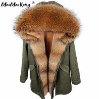 МАО МАО KONG новую зиму куртки ветровки Камуфляж армии зеленый енот меховой воротник с капюшоном ветровки толстый слой натурального меха 201014