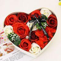Искусственная розовое мыло букет свадьба валентинка день сердца подарочная коробка романтическая свадьба цветок лепестки декор1