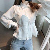 Sonbahar Katı Vintage Inci Düğmesi Bluz Ofis Bayanlar Uzun Kollu Turn-down Yaka Gömlek Şifon Belle Blusas Blanca