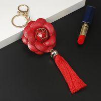 Новое Прибытие Camellia Кожаный Цветок с Кисточкой Цепочка Key Goldow Мода Ключ Кольцо Женская Сумка Подвесной Автомобиль Keychain EH883 H Bbyrnz