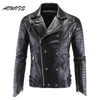 Cuir pour homme Faux Aowofs Mens Vestes Moto Noir Moto PP Crâne Rivets Zipper Slim Fit Quilté Punk Veste Punk Veste Batte mobilier 5xl