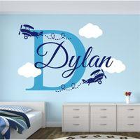 Yoyoyu Art 홈 장식 에코 - 친화적 인 사용자 정의 이름 비행기 구름과 데칼 보육 소년 아이 룸 장식 비닐 벽 스티커 Y-80 201130