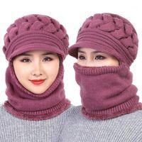 2020 nuova femmina collo scaldatore autunno inverno berretti maschera maschera donna cappello invernale cappelli a maglia cappelli sciarpa set tappi da sci beanie donna1