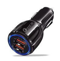 QC3.0 휴대용 자동차 충전기 LED 빠른 충전 12V 3.1A 스마트 폰용 이중 USB 포트