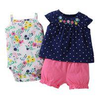 Times 'Любимая новая мода девочка одежда 100% хлопок летняя детская одежда набор футболок + детский боди + брюки шаржа напечатаны LJ201223
