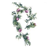 185 سنتيمتر الاصطناعي روز زهرة سلسلة الأوكالبتوس أوراق الروطان مع 6 الزهور لحضور الزفاف الديكور خلفية حديقة جدار ديكور 1