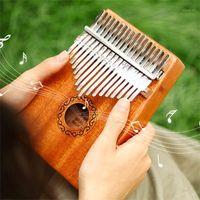 Yaratıcı 17 Tuşlar Kalimba Thumb Piano Yüksek Kaliteli Ahşap Maun Vücut Enstrüman Tune Hammer Başlangıç Parmak Piyano1