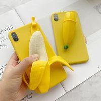الحالات الهاتف الكرتون الخاصة ل iPhone11Pro ماكس XS XR X Banana Silicone Cover Baclk Cover ل iPhone 6 6S 7Plus 8 6S