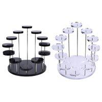2 PCS Display acrilico Supporto per gioielli / torta Dessert rack Strumenti di decorazione del partito di compleanno di nozze, nero trasparente