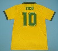 1988 Brasil Retro Soccer Jerseys خمر # 10 Zico Home Yellow 88 Müller Renato Gaúcho Raí Valdo Classic Brasil Shirts