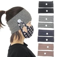 Face Mask Holder Headbands with Button Solid Color Knitted Wide Turban Hairband Children Adult Women Momen Elastic Hair Bands Accessories