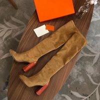 Di modo delle donne di vendita calda sopra il ginocchio stivali Martin signore Chunky alto tacco 10CM la punta del piede 22 pollici Stretch suede Booties