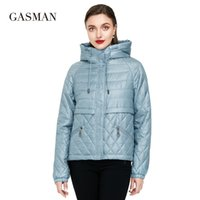 Kadınlar için Gasman Yeni bahar pamuk katı kısa kirpi Ceket ceket ceket 201.014 aşağı kapüşonlu Kadınlar sonbahar giysi parka aşağı fermuar