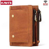 Kavis RFID محفظة جلدية صغيرة الرجال مجنون الحصان محافظ عملة محفظة جودة قصيرة الذكور المال حقيبة جلد البقر جلد بطاقة محفظة الأزياء