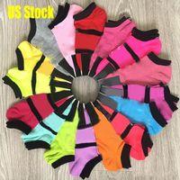 Stati Uniti Fotografia Stock Modo Pink Black Socks Adult Cotton Brevi Calze per caviglia Sport Pallacanestro Pallacanestro Soccer Teenagers Cheerleader New Syley Girls Donne FY7268