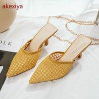 Akexiya Mode Baotou Frauen Half Hausschuhe 2020 Sommer Neue Frauen Mesh High Heel Sandalen und Hausschuhe Wild Sexy1