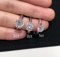 Tener Stamp 925 Sterling Silver Claw 1-3 Karat Diamond Rings Moissanite para mujer Casarse conjuntos de boda Pandora Style Jewelry Regalo