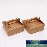 20x20x8cm Blank Brown Kraft papier Boîtes Pizza Dessert Pâtisserie Emballage avec poignée de mariage Party Favor Cake Box 10pcs / lot