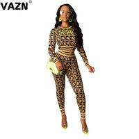 Vazn SD9184 Sonbahar En Kaliteli Vintage Klasik Ekose Seksi Düzenli Moda Tam Kollu Üst Uzun Pantolon Elastik Kadınlar 2 Parça Set 201008