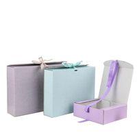 Regalo involucro cartone ondulato scatole di imballaggio cartone stampato logo stampato accessori abbigliamento pieghevoli sciarpa parrucche scatola di imballaggio con nastro