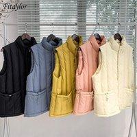Fitaylor novo inverno mulheres cordão casual branco pato para baixo colete zipper stand collar sem mangas colete waistcoat1