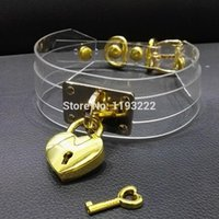 100% Hecho a mano Gargantilla Clear Punk Harajuku Capa PVC Double Straps Choker Gold Gold En forma de Loca Clave Colllar Candlock Collar