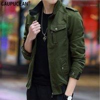 Giacche da uomo 100% Cotton Giacca Uomini Molla Autunno Autunno Pulsanti Zip Zip Tasche Verde Khaki Black Black Blu Blu Maschile Moda Solid Color Man Jacke