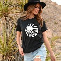 T-shirt Elimiiya Sun Femmes 100 Cotton Nouveau Rock Style Fashion Femme Lâche manches courtes imprimée T-shirt Tops Femme Vêtements1