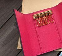 최고 품질의 새로운 여성 남성 클래식 6 키 홀더 커버 키 체인 키 지갑 남자가있는 남자들. 가방 카드 키 링 7 색