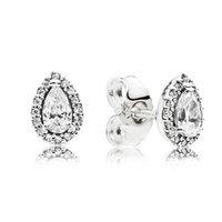 Серьги с бриллиантами CZ для женщин роскошные ювелирные изделия с коробкой для пандоры 925 стерлинговые серебряные серебряные серьги свадьбы 57 м2