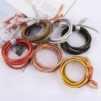 Bracelet 5 pcs / Set Bowknot Gold Silver Glitter Bangles Set 2021 Toutes les conditions météorologiques Silicone Plastique Gelée en gros Bracel1