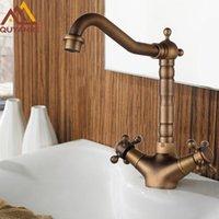 Quyanre bronze antigo Bacia torneira da pia dupla Cruz alças Hot Cold Water Mixer Tap 360 Rotaiton Banho Duche Água da torneira
