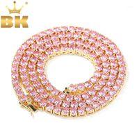 Ketten The Bling King 4mm Rosa Iced Cubic Zirkonia Tennis Gold Silber Farbe Halskette Farbige Mode Hiphop Schmucksry1
