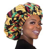 50 جهاز كمبيوتر شخصى / الكثير إضافي الحرير كبير بونيه أنقرة طباعة نمط الأفريقية بونيه المرأة ليلة النوم كاب طبقة مزدوجة الرأس