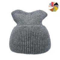 비니 / 두개골 모자 고체 유니섹스 비니 가을 겨울 양모 혼합 부드러운 따뜻한 니트 모자 남성 여성 Skullcap 모자 Gorro 스키 10 색 비니