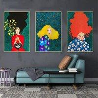 Pinturas abstrata senhora moderna diy pintura a óleo da arte da parede da parede da parede da pintura para 40x50cm