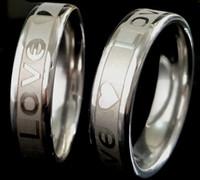 Partihandel Massor 50st Kärlek Hjärta 6mm Band Komfort-Fit Silver Rostfritt Stål Ring Lovers Par Bröllop Förlovning Smycken Present