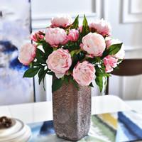 Künstliche Blumen Pfingstrose 3 Köpfe Seide Pfingstrose Blumen Zweig für Home Hochzeitsfest Dekoration Fake1