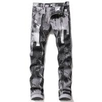 Erkek Moda Soyut Sanat Streç İnce Düz Kot Gençler Dijital 3D Baskılı Gri Siyah Kot Denim Pantolon