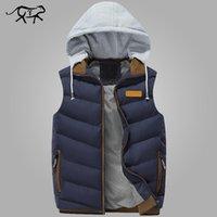 2020 Brand Men Зимние куртки Повседневный Толстые Жилеты Мужчины рукавов Толстовка пальто Мужчина Теплый хлопка-проложенный Жилет Colete Мужчина для