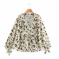Kadınlar Moda Baskı Gevşek Gömlek Önlük Casual Femme V-Yaka Batwing Kol Bluz Lady blusas S8115 Tops