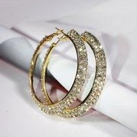 Hoop Huggie 30-70mm Mode Dubbele rijen Crystal Rhinestone Grote Cirkel Ronde Dames Party Oorbellen Basketbal Wives Loop Earings Gift1